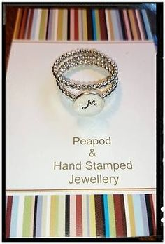 Sterling silver ring SET, hand stamped, personalised, bead ball AU $55