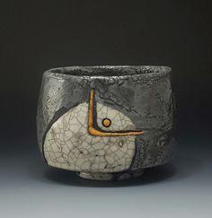 A mysteriously beautiful raku tea bowl with rich grey and white glaze. Ouriebeigh Greigh style tea bowl with custom box Ceramic Mugs, Ceramic Bowls, Ceramic Art, Raku Pottery, Slab Pottery, Painted Pottery, Pottery Bowls, Japanese Ceramics, Japanese Pottery