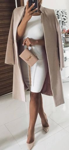 Cute simple dress for a night out! Womens Clothing Stores, Clothes For Women, Classy Outfits, Casual Outfits, Duster Coat, Collars, Sleeves, Jackets, Fashion