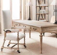French Partner's Desk from Restoration Hardware. Love this beautiful desk that provides work space for two.