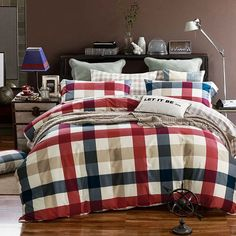 BedRocks Checkers Quilt Cover Bed Linen Set. Red/Blue (4 PCS) 500TC)