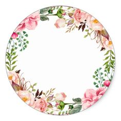 Romantic Chic Floral Decor Thank You Classic Round Sticker - Crafts favors coasters Flower Circle, Flower Frame, Foto Transfer, Printable Designs, Printable Frames, Floral Border, Flower Backgrounds, Student Gifts, Round Stickers