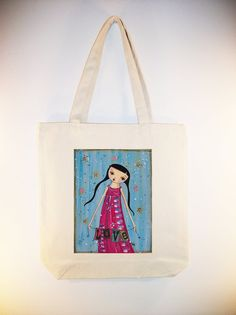 All You Need Is Love  ARTIST DINI BURNY on 15x15 Canvas Tote by Whimsybags, $14.00