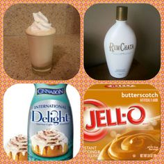 butterscotch instant pudding Cup Milk or cinnamon roll coffee creamer Cup RumChata tub Cool Whip Directions Whisk together the milk or coffee creamer, liquor, and instant pudding mix in a bowl until Rumchata Pudding Shots, Jello Pudding Shots, Rumchata Recipes, Jello Shots, Banana Cream Pudding, Butterscotch Pudding, Banana Milkshake, Fun Drinks, Yummy Drinks