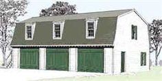 Three Car Gambrel Roof Garage Plan 976-6. Another 18TH C Colonial Williamsburg inspired design uses manufactured gambrel attic trusses for economical and safe structure.