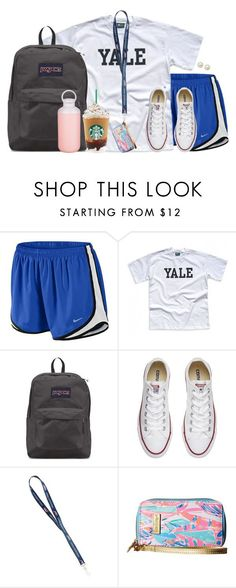 """Wear my schools' colors tomorrow for our first  game"" by aweaver-2 on Polyvore featuring NIKE, JanSport, Converse, Lilly Pulitzer, Honora and Contigo"