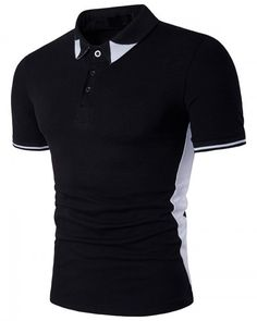 Color block black and white polo shirt for men short sleeve Black And White Shorts, Black And White Colour, Tee Shirts, Tees, Short Sleeve Tee, Fitness Fashion, Mens Fashion, Hiphop, Mens Tops