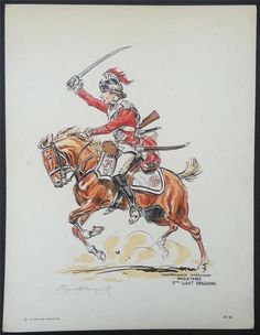 Lithograph Signed Eugene Leliepvre English Soldier Revolutionary War Cavalry