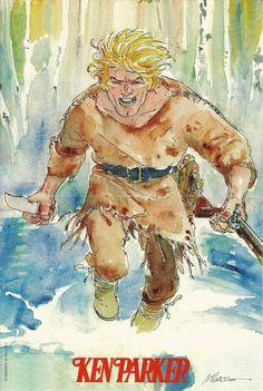 Ken Parker - Ivo Milazzo - Locandina promozionale - W. Ken Parker, Le Far West, Mountain Man, Fun Comics, Watercolors, Westerns, Native American, Medieval, Pasta