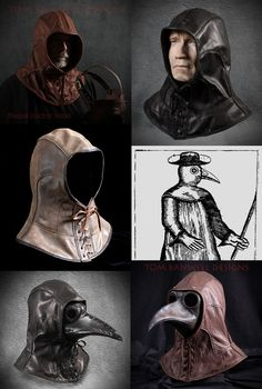 Plague doctor masks and costumes by Tom Banwell Designs, plus steampunk masks and helmets. Steampunk Mask, Steampunk Costume, Steampunk Diy, Plague Mask, Plague Doctor Mask, Plague Dr, Plague Knight, Plauge Doctor, Doctor Halloween