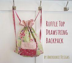 Ruffle Top drawstring backpack