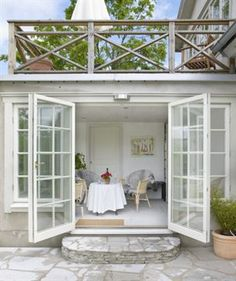 Charismatic Slope of the terrace. The greenhouse with an exquisite patio each above and out of doors the doorways. – – # out of doors kitchen Balustrades, Marquise, House Extensions, Patio Doors, Entry Doors, Shabby Chic Homes, Outdoor Rooms, Cabana, French Doors