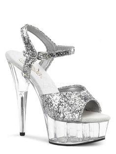 Silver Glitter Open Toe Platform Sandal