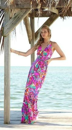 Lilly Pulitzer Parrish Halter Maxi Dress in Sea and Be Seen