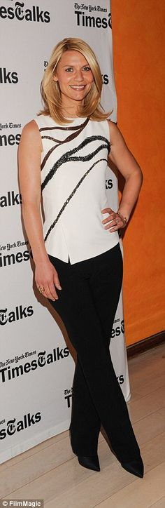 Monochrome: The actress cut a stylish figure with a sleeveless top