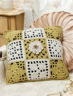 """Examples of crochet patterns found in the """"When Granny Meets Filet"""" collection."""