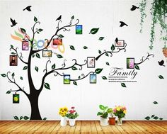 """Just Bought This!  Wall Decal Sticker Removable Photo Frame Tree With Family Branches Quote 80""""H"""