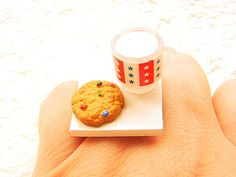 Cookie Ring Miniature Food Jewelry Milk And A by SouZouCreations, $12.50 #etsy #jewelry #jewellery #shopping #etsy #handmade #food #gift #present #accessory #accessories #harajuku #tokyo #fashion