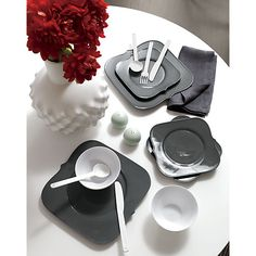 Clean, modern dining sets and tableware. Shop online for chic dinnerware sets, modern serving pieces, sleek flatware, minimalist drinkware and more. Modern Dinnerware, Dinnerware Sets, Modern Dinner Plates, Grey Plates, Plates And Bowls, Salad Plates, Square Plates, Dinner Sets, Flatware Set