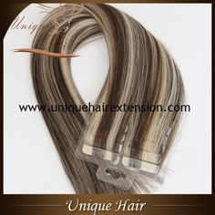 Best quality European remy double drawn piano color tape in hair extensions, 100% premium quality human hair extensions, the hair very soft, tangle free no shedding, 0.8X4cm/pcs, 40pcs/pack, also can produce 20pcs/pack, professional tape in hair extensions factory in China with more than 17 years, welcome to contact Qingdao Unique Hair Products Co.,Ltd. for specifications https://www.uniquehairextension.com/product-category/tape-hair/tape-in-hair/
