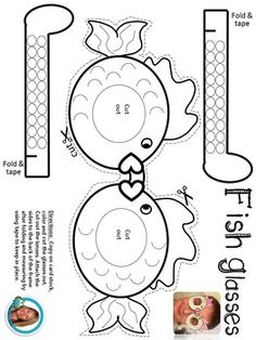 Use these cute Ocean Themed Fish Glasses to celebrate learning about Ocean Life!Directions:  Copy on card stock, color and cut the glasses out.  Cut out the lenses. Attach the sides to the back of the frame after folding and measuring by using tape to keep in place.*I always measure them on the first couple kids and then it becomes easy to know exactly where to place the arms to the frame.  * If you place the arms on the back of the fish tail, they will be too far, so move them in towards th...