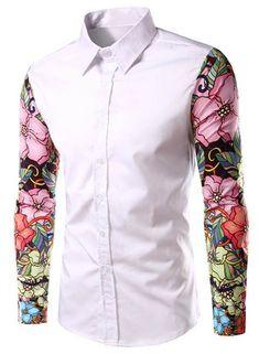 Stylish Turn-Down Collar Floral Print Spliced Long Sleeve Shirt For Men