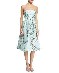 Strapless Bird-Print Fit-&-Flare Dress, Seafoam, Women's, Size: 10 - Monique Lhuillier