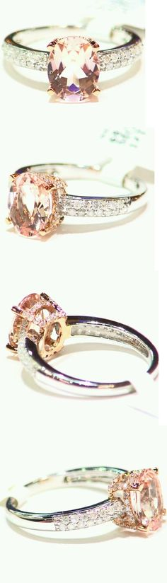 Rings 165044: 2.48Ct 14K Rose Gold Natural Morganite Cut White Diamond Vintage Engagement Ring -> BUY IT NOW ONLY: $891.0 on eBay!