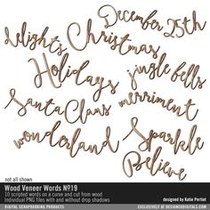 Wood Veneer Words No. 19 curvy wooden christmas words in scripte for cardmaking and scrapbooking #designerdigitals