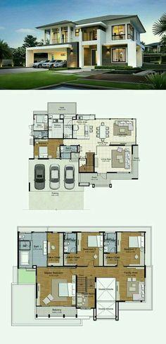 Pinterest: @claudiagabg | Casa 2 pisos 3 cuartos 1 estudio abierto 1 sala de tv