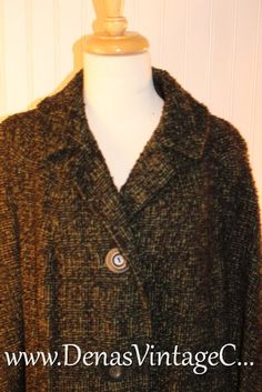 Vintage 60s Nubby Green Black and Brown Wool by DenasVintageCloset