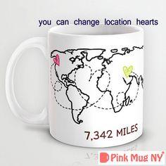 Personalized 11oz/ 15oz mug cup designed PinkMugNY - Long Distance Love - World…