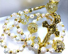 White beautiful delicate 4-5mm freshwater near round pearl bead Crystal gold capped silk cord handmade religious Catholic rosary -    Edit Listing  - Etsy