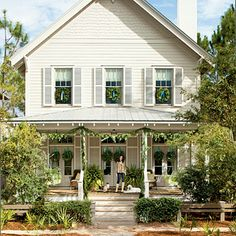 Coastal cottage Christmas. Tone on tone shutters.
