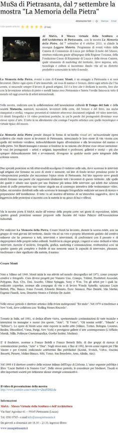 La memoria della Pietra - MuSA -  07.09 - 06.10 2013