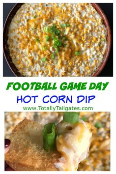 Football Game Day Hot Corn Dip will score a touchdown at your tailgate party! Healthy Superbowl Snacks, Football Snacks, Game Day Snacks, Tailgating Recipes, Tailgate Food, Game Day Food, Sweet Potato Skins, Mashed Sweet Potatoes, Hot Corn Dip