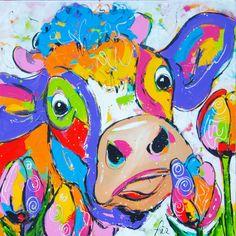 Cow with tulips www.vrolijkschilderij.nl