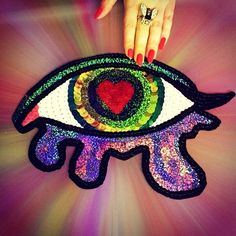 Custom Heart Broken Crying Eye Sequin Applique by KingSophiesWorld, Funny Patches, Cool Patches, Pin And Patches, Pink Gel Nails, Band Patches, Victorian Boots, Sequin Patch, Mosaic Garden, Fabric Patch