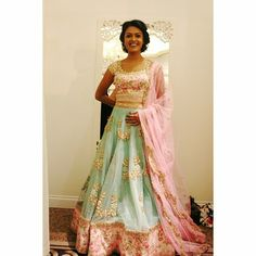 Pink and mint green floral lengha by Anushree Reddy