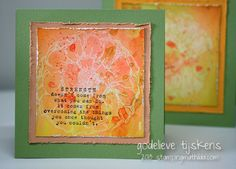 On these cards I used a resist technique with gesso. I stamped the Donna Downey peonies with gesso on smooth watercolor paper. After the ges...