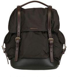 Giorgio Armani Black Nylon and Leather Backpack