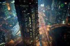 shanghai-pudong-century-avenue-jinmao-tower-night by Raphael Olivier, via Flickr