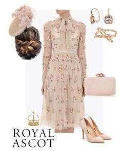 """""""Royal Ascot"""" by lilymae1997 ❤ liked on Polyvore featuring Rupert Sanderson, JANE TAYLOR MILLINERY, Blue Nile and Allurez"""