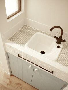 造作洗面台/洗面室/タイル/ナチュラルインテリア/インテリア/注文住宅/施工例/ジャストの家/washstand/lavatory/powderroom/bathroom/vanity/natural/design/interior/house/homedecor