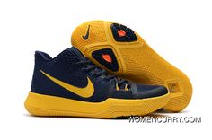 """best service 4edf1 6a70c Girls Nike Kyrie 3 """"Cavs"""" Deep Blue Yellow New Style"""