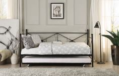 Jones Metal Daybed with Trundle - Black