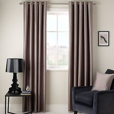 Shop for John Lewis & Partners Faux Silk Pair Blackout Lined Eyelet Curtains at John Lewis. Find a wide range of Home, Fashion and Electrical products at John Lewis with Free Delivery on order over Brown Curtains, Laura Ashley Curtains, Curtains, Panel Curtains, Curtain Decor, Grey Curtains, Silk Curtains, Interior, Lined Curtains