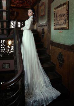 1 white ao dai w both white & red wedding dresses (4piece suit)