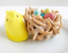Super cute, and easy!  Chow mein nests with eggs and peep Mama