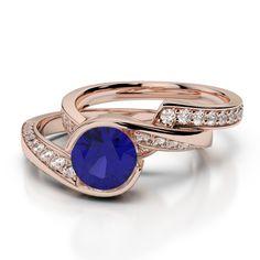 Gold / platinum round cut tanzanite and diamond bridal set ring Ruby Rose, Rose Gold, Gold Rings, Gemstone Rings, Bridal Ring Sets, Gold Platinum, Black Diamond, Emerald, Sapphire